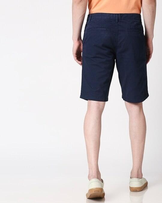 Shop Marine Blue Plain Shorts-Full