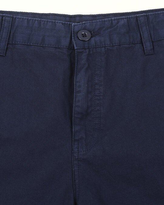 Shop Marine Blue Plain Shorts