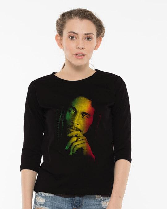 Shop Marley Rasta Round Neck 3/4th Sleeve T-Shirt-Front