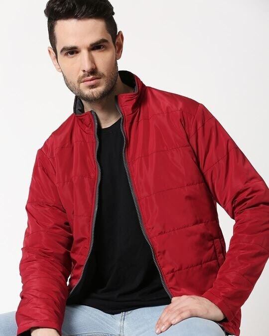 Shop Maroon Chill Block Reversible Puffer Jacket-Back