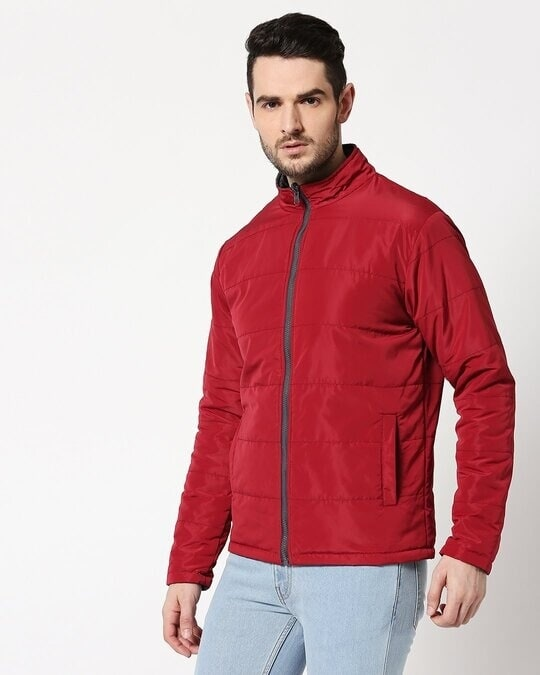 Shop Maroon Chill Block Reversible Puffer Jacket-Design
