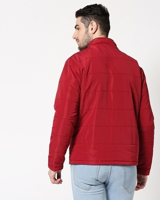 Shop Maroon Chill Block Reversible Puffer Jacket-Full