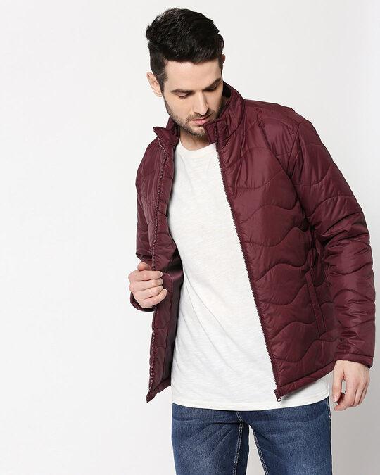 Shop Maroon Chill Block Wave Puffer Jacket-Back