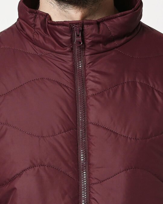 Shop Maroon Chill Block Wave Puffer Jacket