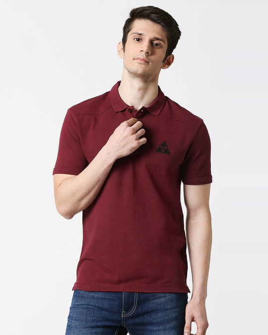 Shop Maroon Half Sleeve Shoulder Yoke Polo-Front