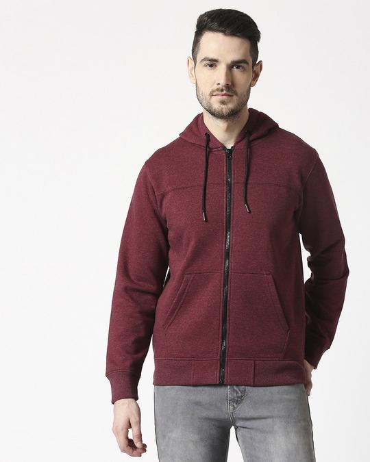 Shop Maroon Melange Cut & Sew Zipper Hoodie-Back