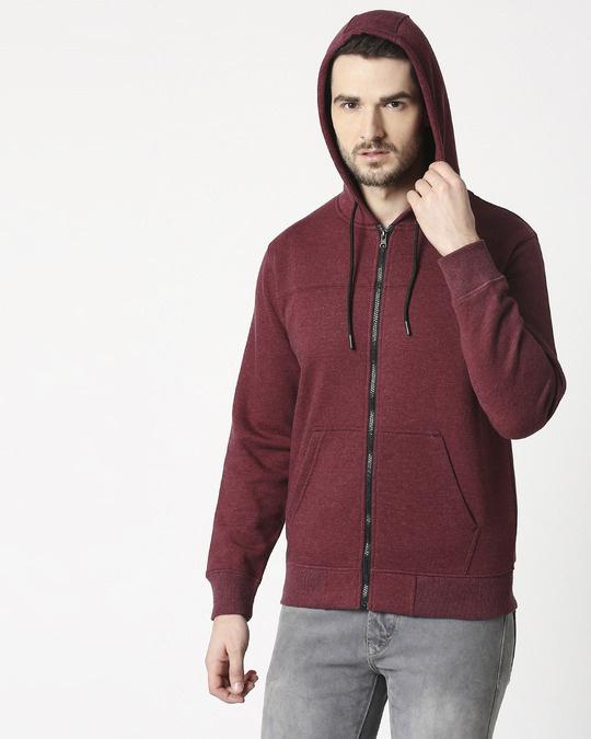 Shop Maroon Melange Cut & Sew Zipper Hoodie-Design