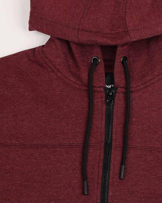 Shop Maroon Melange Cut & Sew Zipper Hoodie