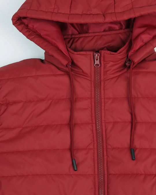 Shop Maroon Plain Puffer Jacket with Detachable Hood