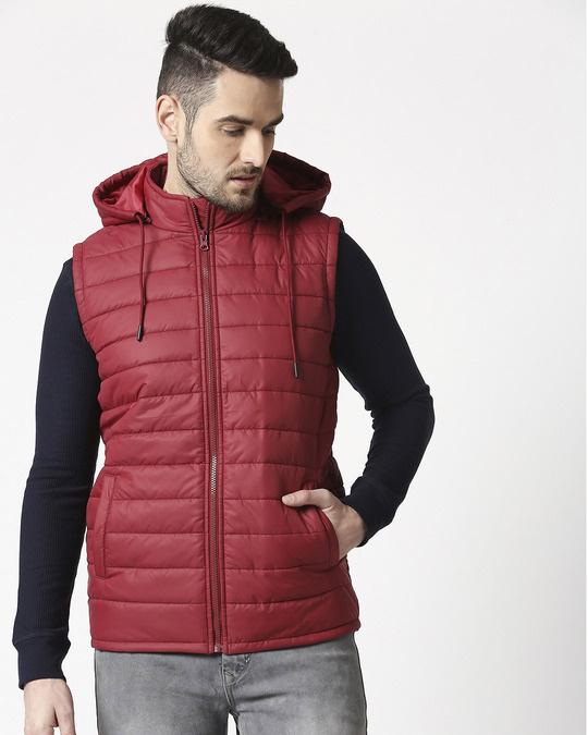 Shop Maroon Plain Sleeveless Puffer Jacket with Detachable Hood-Back