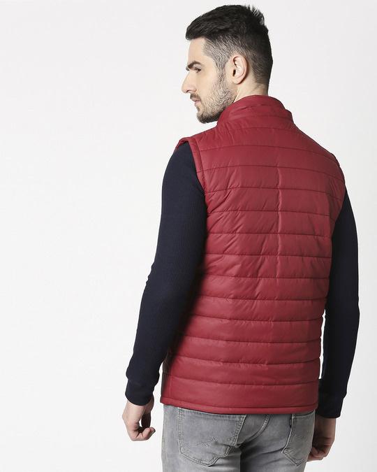 Shop Maroon Plain Sleeveless Puffer Jacket with Detachable Hood-Full