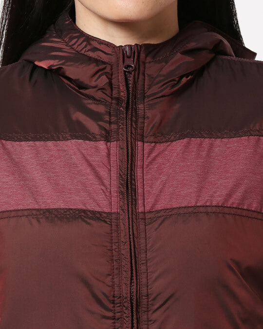 Shop Maroon Stylised Panel Jacket