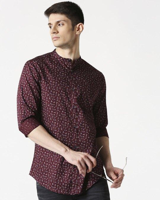Shop Maroon Poplin Print Slim Fit Shirt-Front