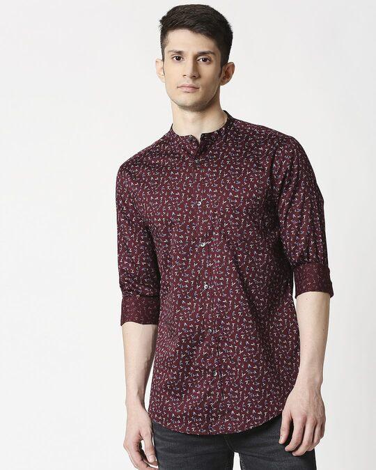 Shop Maroon Poplin Print Slim Fit Shirt-Back