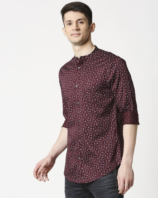 Shop Maroon Poplin Print Slim Fit Shirt-Design
