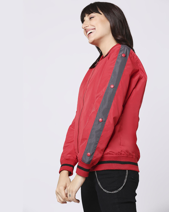 Shop Maroon Stylised Shoulder Stripe Bomber Jacket-Design