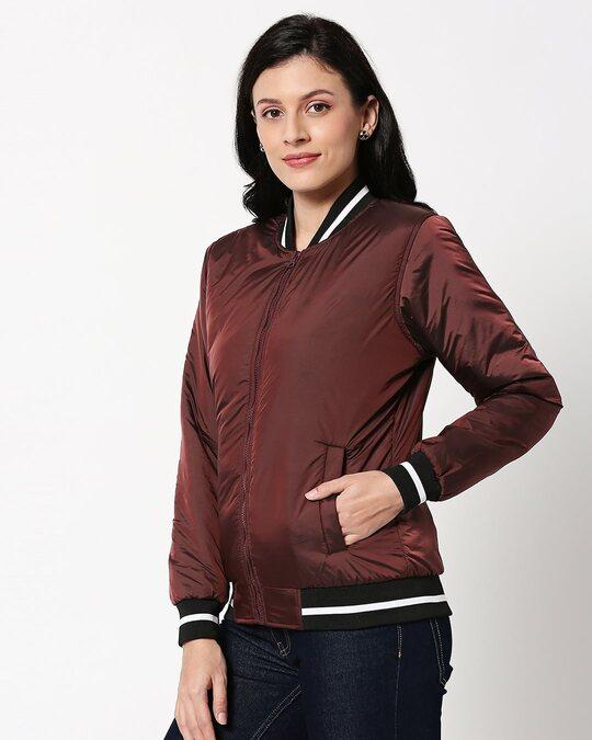 Shop Maroon Utra Varsity Bomber Jacket-Design