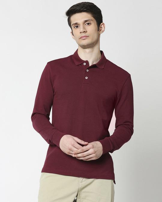 Shop Marron Full Sleeve Plain Pique Polo-Front