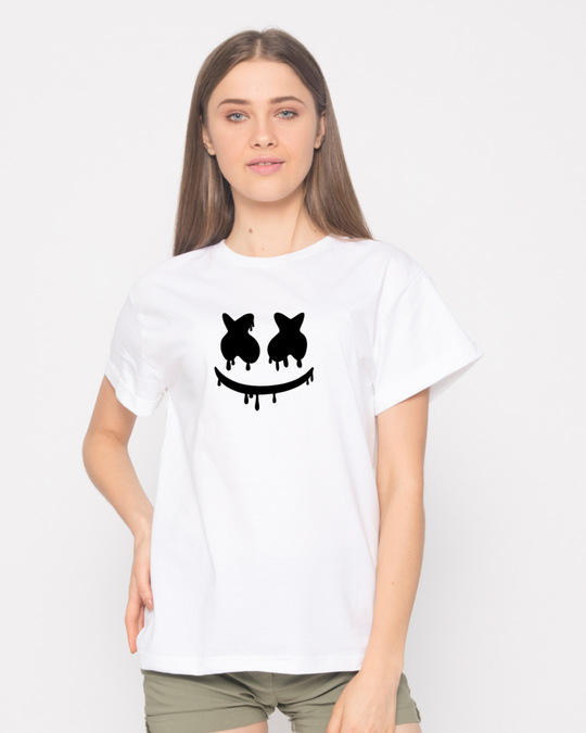 Shop Marshmello Mask Boyfriend T-Shirt-Front