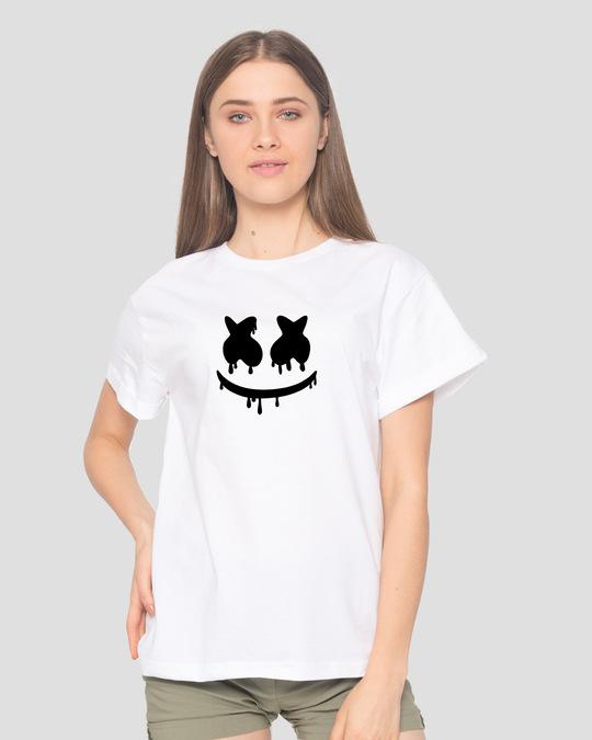 Shop Marshmello Mask Boyfriend T-Shirt-Front