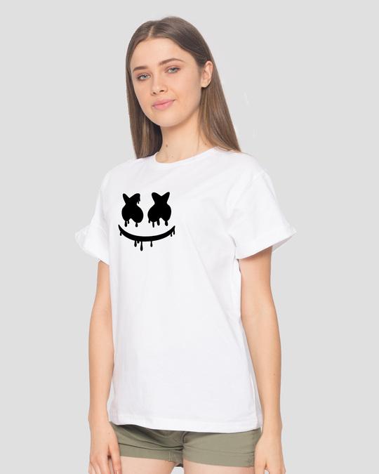Shop Marshmello Mask Boyfriend T-Shirt-Back