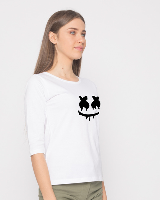 Shop Marshmello Mask Round Neck 3/4th Sleeve T-Shirt-Back