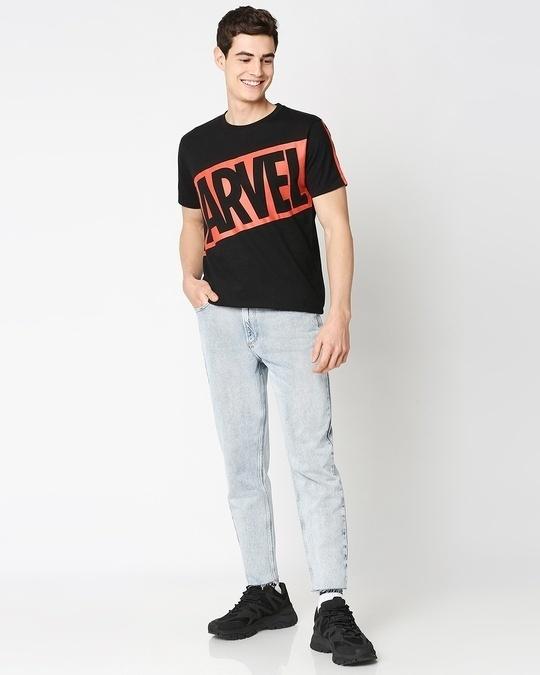 Shop Marvel Logo Half Sleeve T-Shirt (AVL)
