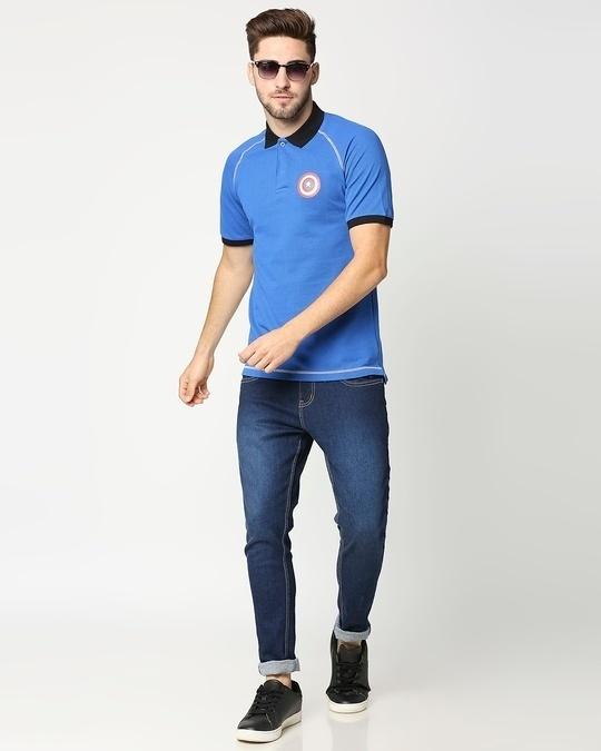 Shop Marvel Shield Baleine Blue Raglan Polo T-Shirts