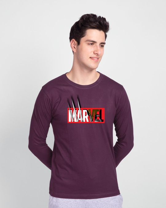 Shop Marvelrine Full Sleeve T-Shirt Deep Purple-Front