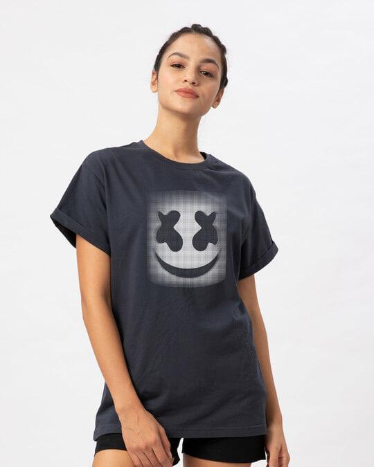 Shop Mask Of Marshmello Boyfriend T-Shirt-Back