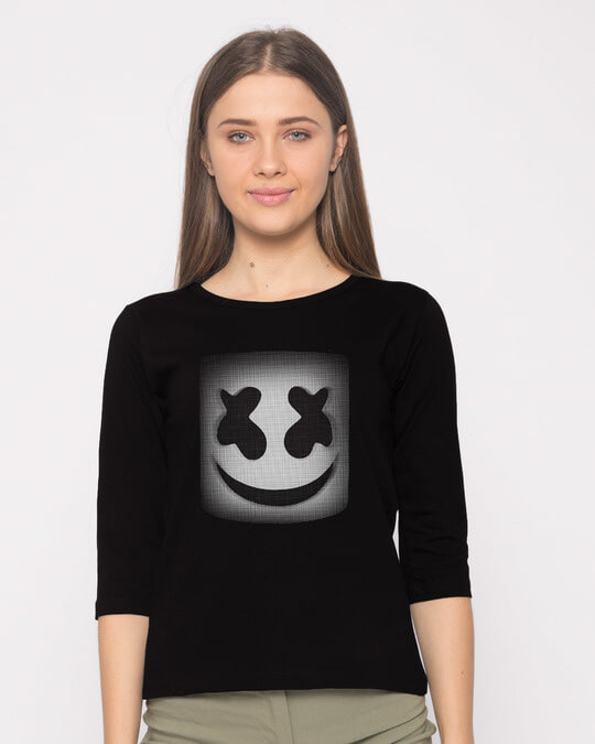 Shop Mask Of Marshmello Round Neck 3/4th Sleeve T-Shirt-Front