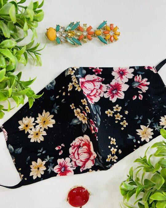 Shop Vintage Floral Mask ( Black )