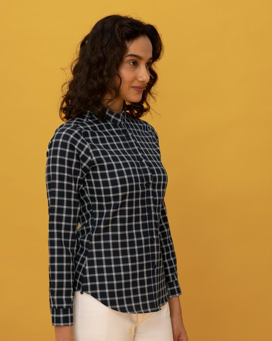 Shop Mauve Blue Check Slim Shirt-Back