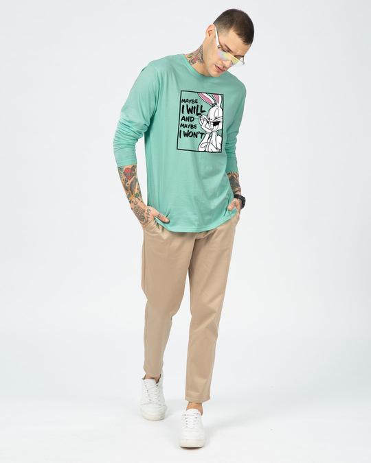 Shop Maybe I Won't Full Sleeve T-Shirt (LTL)-Aqua Green-Design