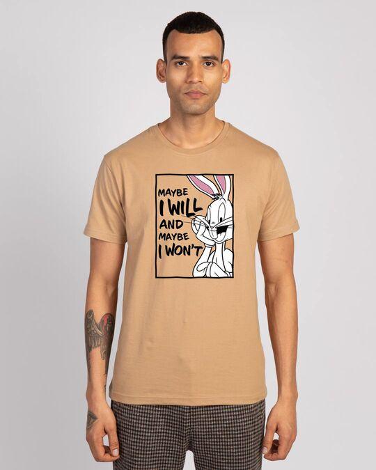 Shop Maybe I Won't Half Sleeve T-Shirt (LTL) Dusty Beige-Front
