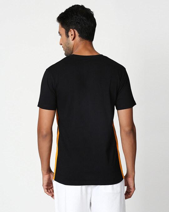 Shop Me And We Contrast Side Seam Panel T-Shirt Black-Neon Orange-Back