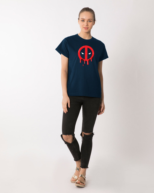 Shop Melting Deadpool Boyfriend T-Shirt (DPL)-Full