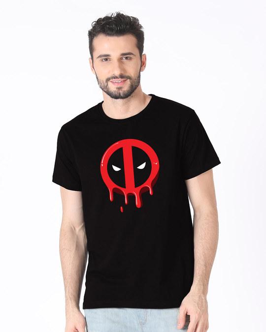 Shop Melting Deadpool Half Sleeve T-Shirt (DPL)-Back