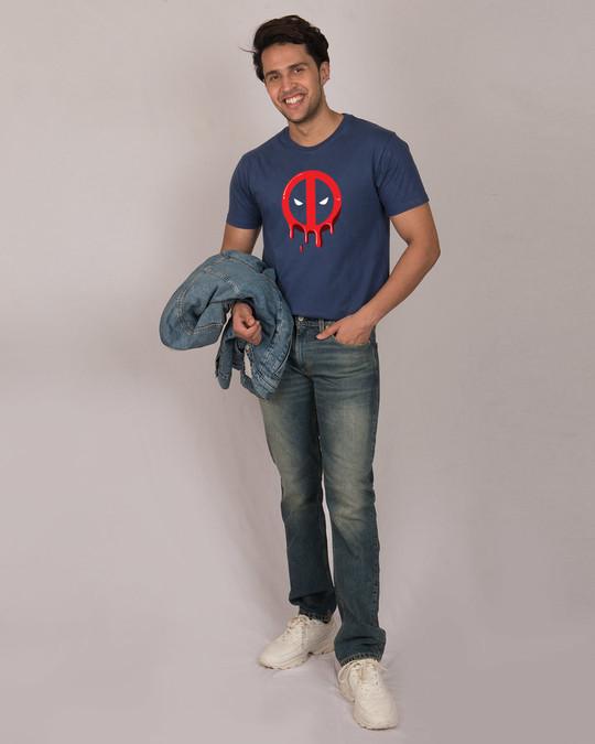 Shop Melting Deadpool Half Sleeve T-Shirt (DPL)-Full