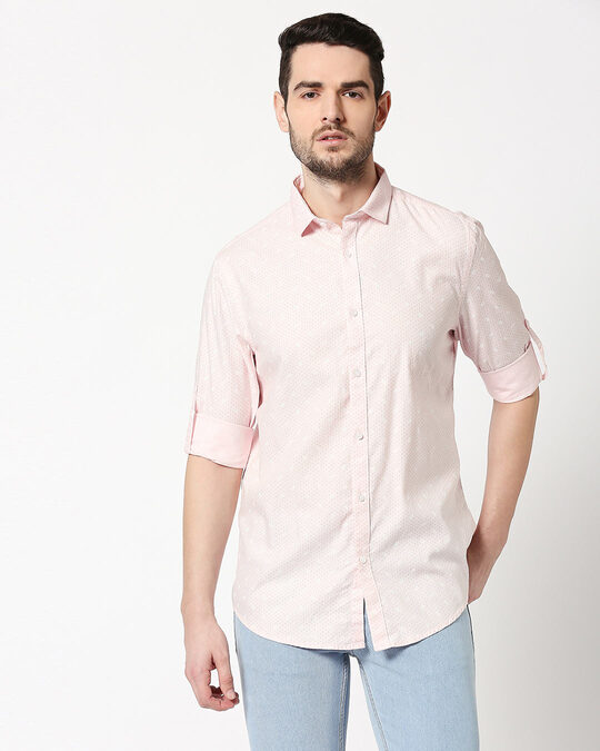 Shop Men AOP Slim Fit Casual Shirt-Back