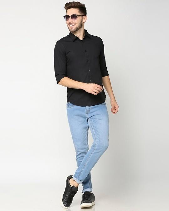 Shop Black Poplin Lycra Slim Fit Casual Shirt