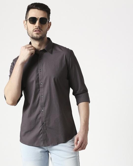 Shop Men Dk Grey Poplin Lycra Slim Fit Casual Shirt-Front