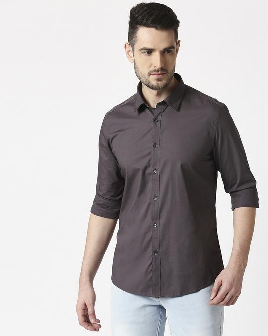 Shop Men Dk Grey Poplin Lycra Slim Fit Casual Shirt-Back