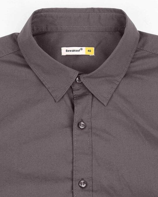 Shop Men Dk Grey Poplin Lycra Slim Fit Casual Shirt