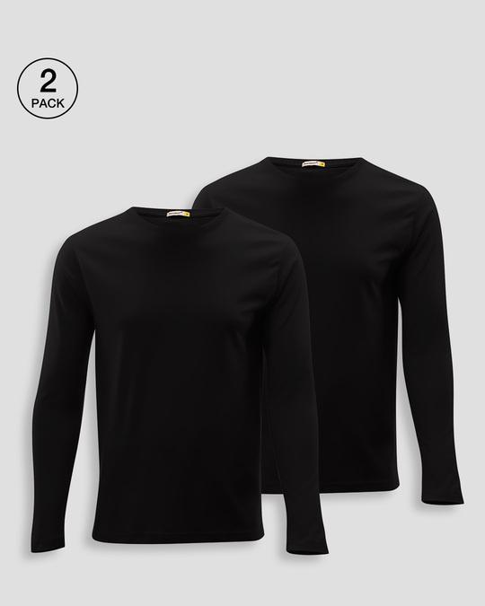 Shop Men's Plain Full Sleeve T-Shirt Pack of 2 (Black)-Front