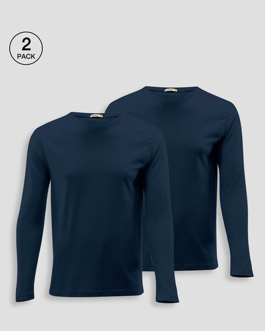 Shop Men's Plain Full Sleeves T-Shirt Pack of 2 (Navy Blue)-Front