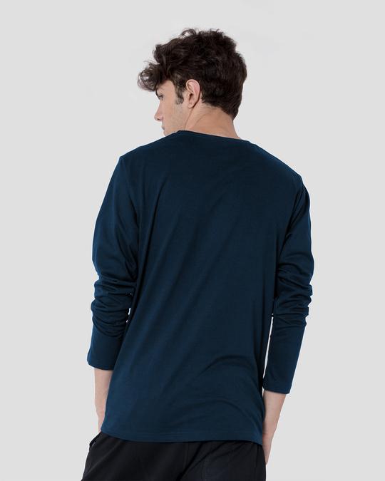 Shop Men's Plain Full Sleeves T-Shirt Pack of 2 (Navy Blue)-Full