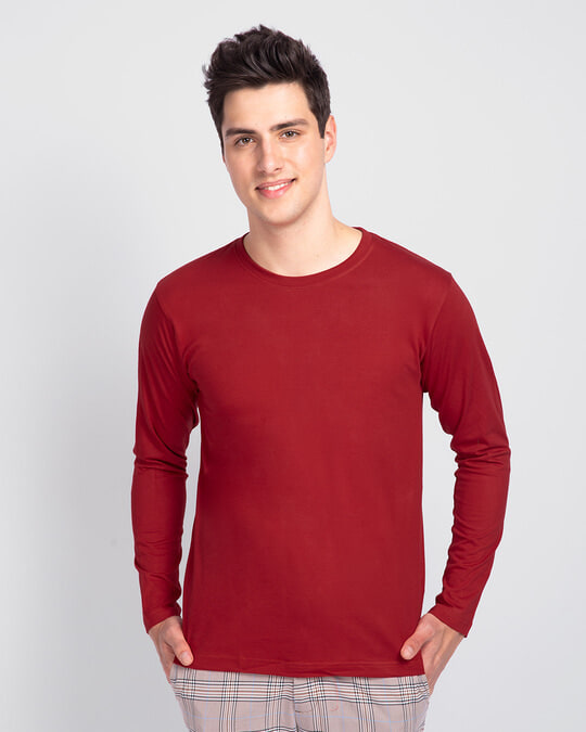 Shop Men's Plain Full Sleeve T-Shirt Pack of 2 (Bold Red)-Back