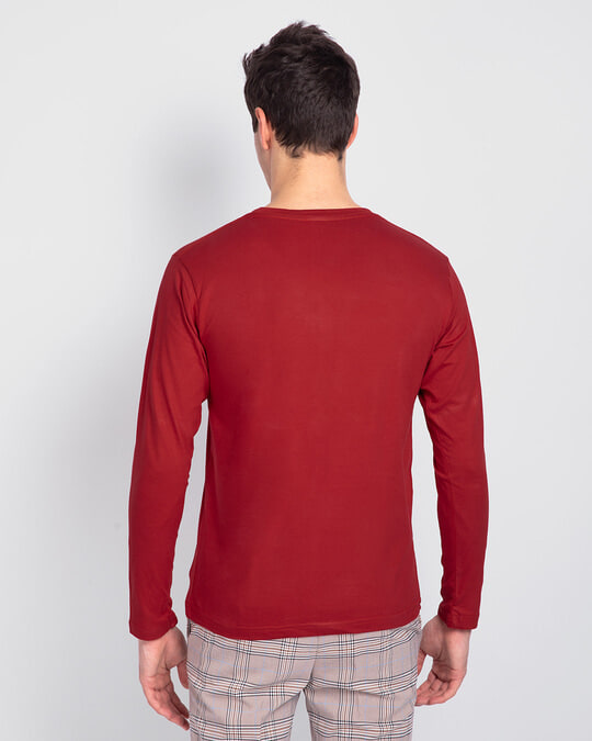 Shop Men's Plain Full Sleeve T-Shirt Pack of 2 (Bold Red)-Full