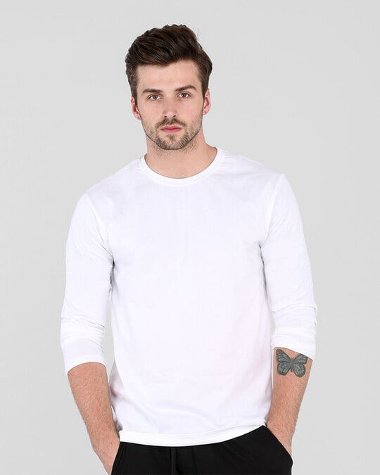 Shop Men's Plain Full Sleeve T-Shirt Pack of 2 (White)-Back